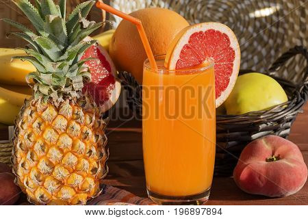 Fresh juicy fruits from which the multivitamin juice is made