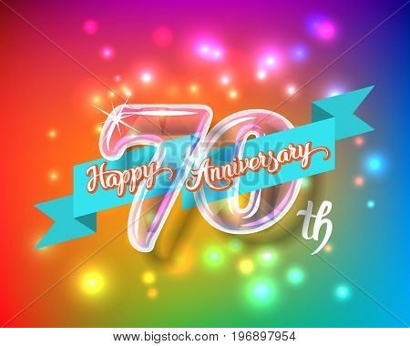 Happy 70th anniversary. Glass bulb number with ribbon and party decoration on the colorful background