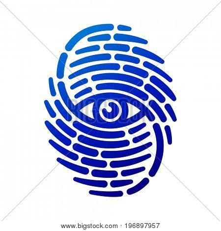 Fingerprint with eye inside. Conceptual security logo or identification icon of dashed line finger print