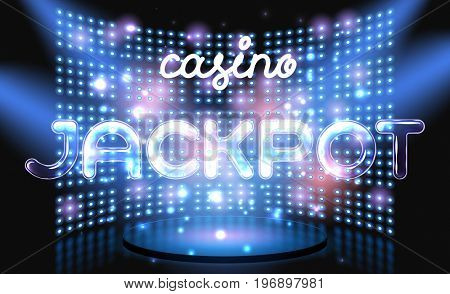 Jackpot online casino win lettering live stage on background with glowing wall.