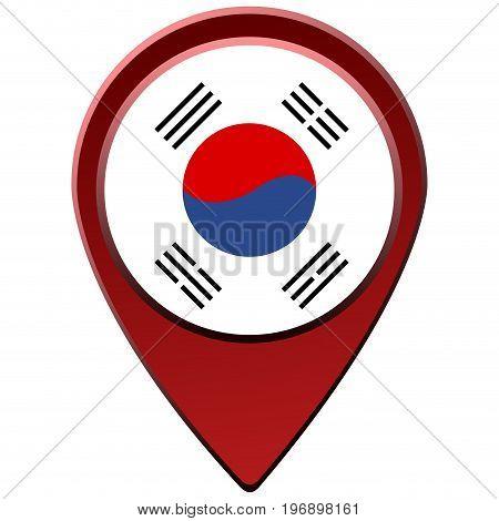 Isolated South Korean Flag