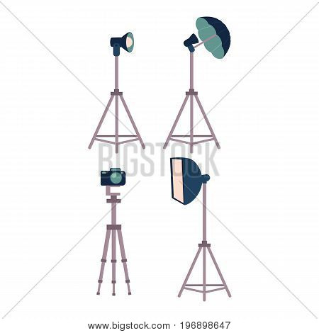 Professional photo studio equipment set - camera, tripods, flash, strobe light, cartoon vector illustration on white background. Set of cartoon style professional photo, photographer studio equipment
