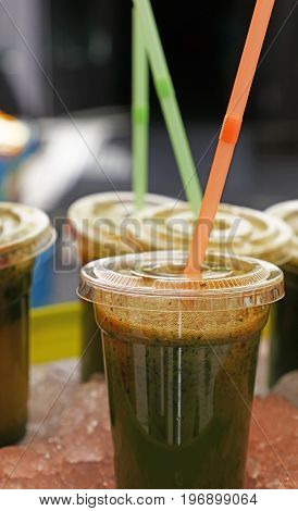 Green Smoothie Of Fruits And Vegetables Close Up