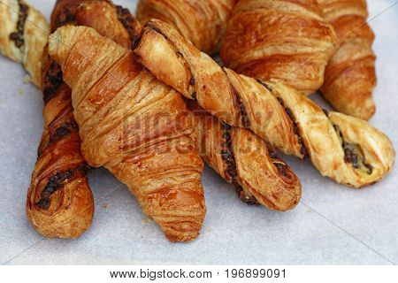 Freshly Baked Croissant And Pastry Close Up