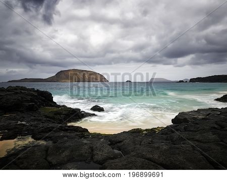 view of beautiful Playa de las Conchas on the Graciosa island near Lanzarote, Canary islands, Spain