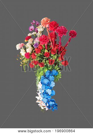 Colorful Artificial Flowers Isolated on Gray Background Clipping Path