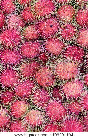 Sweet fruits rambutan delicious in the market