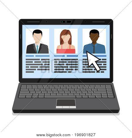 Laptop with candidates list. Flat design vector illustration.