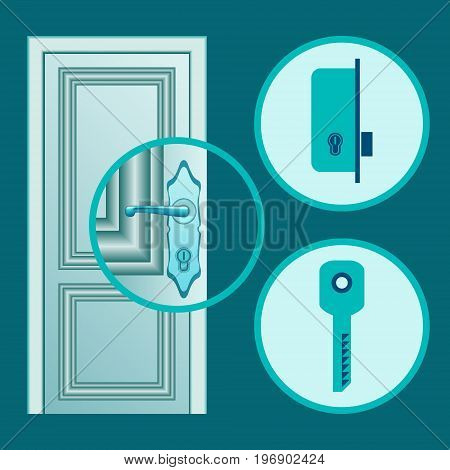 Handle installation or door lock repair illustration