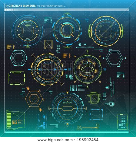 set of infographic elements. Head-up display circular elements for the web and app. Futuristic user interface.