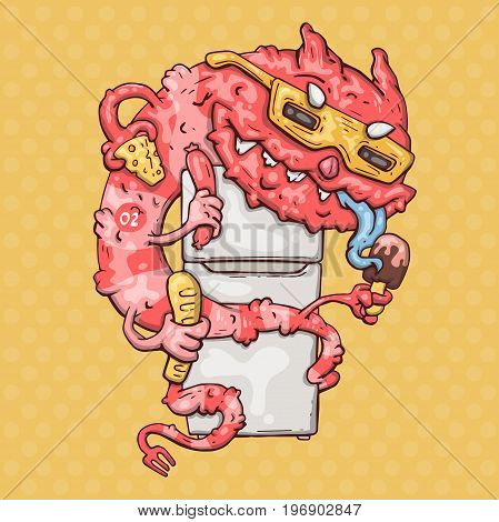 cartoon monster with a fridge. vector illustration for web and print.