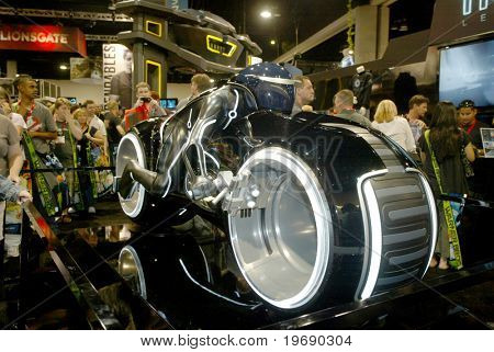 SAN DIEGO, CA - JULY 21: The light cycle from Tron on the convention floor July 21, 2010 at the 2010 Comic Con International held in San Diego, CA.