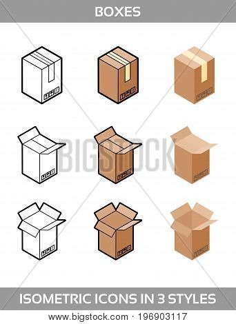 Isometric carton packaging boxes set in three styles with postal signs this side up fragile vector illustration