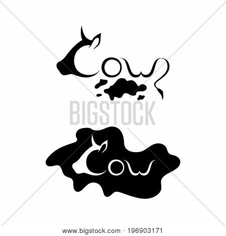 A set of hand-drawn logos. The letter designation with a silhouette of a head of a cow in a profile. Lettering. Black and white. Vector illustration