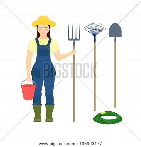 Girl farmer with a bucket and pitchforks in rubber boots and work clothes. A set of agricultural tools. Vector flat illustration on white background. Isolated.