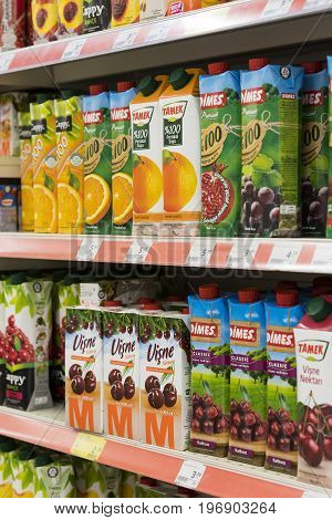 MARMARIS, TURKEY - 29 APRIL , 2017: Interior interior of stiles and refrigerators with products of Migros supermarket in Marmaris, Turkey