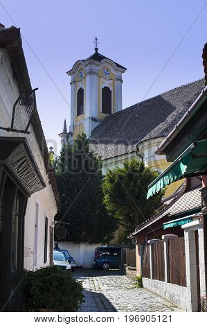 BUDAPEST, HUNGARY. 23 JUNE, 2017: The streets of the tourist town of Szentendre with shops and restaurants.