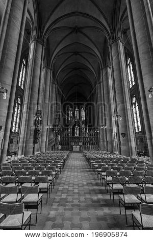 MARBURG GERMANY - APRIL 18 2015: Interior of St. Elizabeth's Church. Black and white. The medieval church was built by the Order of the Teutonic Knights in honour of St. Elizabeth of Hungary.