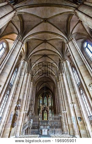 MARBURG GERMANY - APRIL 18 2015: Interior of St. Elizabeth's Church. The medieval church was built by the Order of the Teutonic Knights in honour of St. Elizabeth of Hungary.