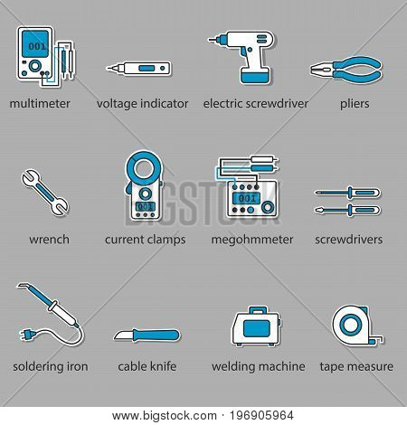 The Electricians tools icon set. This is a set of icons for websites and electronic applications. The icons have a size of 48 by 48 pixels. This is a vector set of icons.