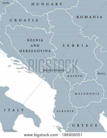 Central Balkan political map with borders. Southeastern countries on the Balkan Peninsula in Europe from Croatia to Greece. Gray illustration on white background. English labeling. Vector.