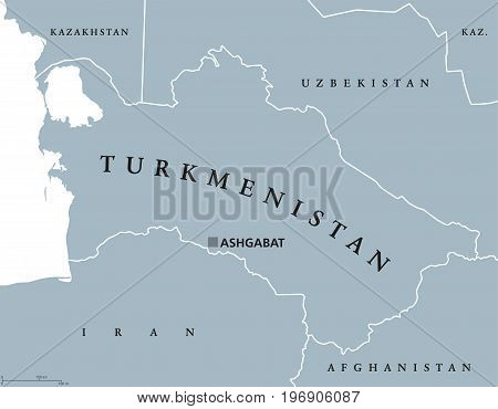 Turkmenistan political map with capital Ashgabat. Formerly known as Turkmenia, a country in Central Asia on the Caspian Sea. Gray illustration on white background with English labeling. Vector.