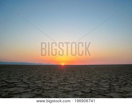 Sunset in the desert of the UAE in the suburbs of Dubai