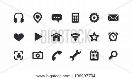 Monochrome icons for the Web. Full set. Vector illustration