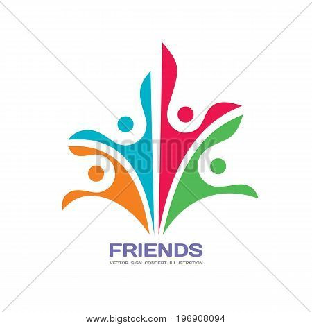 Friends - vector logo template concept illustration. Human character abstract sign. Happy people family symbol. Social media union. Friendship insignia. Teamwork partnership. Design element.