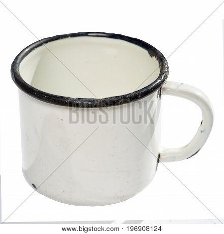 one white old metal mug isolated on white background