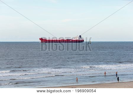 Wangerooge, Germany.  05Th July 2017:  View Of A Cargo Ship Passing The Isle Wangerooge