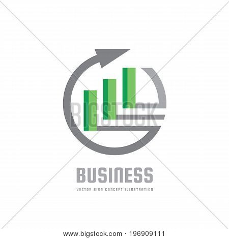 Business trend - vector logo concept illustration. Abstract arrow, circle and blocks. Finance growth graphic icon. Design element.