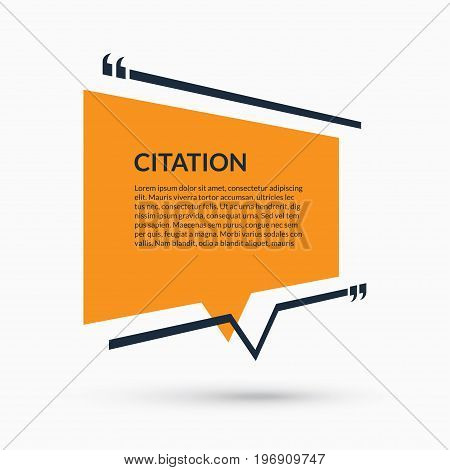 Quote speech bubble, blank template, text in brackets, citation empty frame, quote box