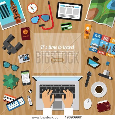 Travel, tourism, summer vacation planning, discover the world, journey in holidays concept in flat style. Top view at a desktop. Vector illustration