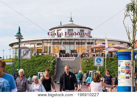 Wangerooge, Germany.  05Th July 2017: View Of The Famous Cafe Pudding Located On The  Seawall Of Wan