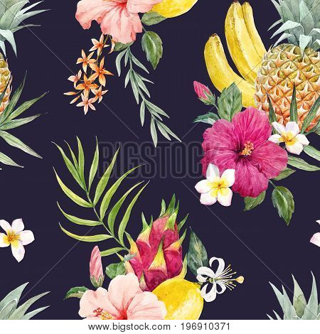 Beautiful seamless pattern with watercolor tropical fruits and flowers