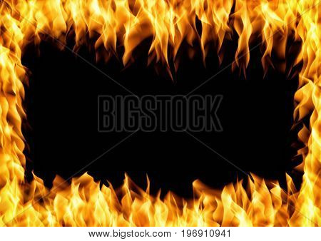 Frame of burning fire. Flame with smoke over black background