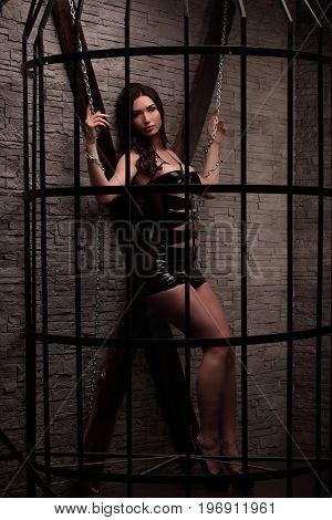 Luxurious Fashion Stylish Brunette Girl In Metal Cage. Black Dress, Big Sensual Pink Lips, Bdsm Conc