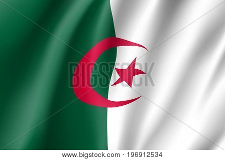 Algeria flag. National patriotic symbol in official country colors. Illustration of Africa state waving flag. Realistic vector icon