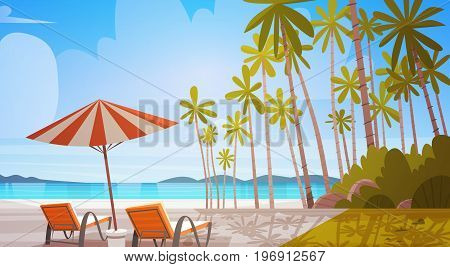 Sea Shore Beach With Deck Chairs Beautiful Seaside Landscape Summer Vacation Concept Flat Vector Illustration