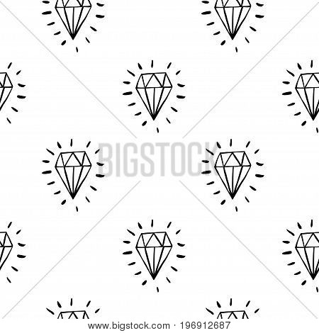 Vector seamless cartoon pattern with blue diamonds. Hand drawn black and white jewerly pattern for paper textile handmade decoration scrap-booking polygraphy clothes cards.