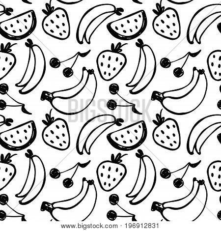 Vector seamless cartoon pattern with banana strawberry cherry. Hand drawn black and white fruits pattern for paper textile handmade decoration scrap-booking polygraphy clothes cards.
