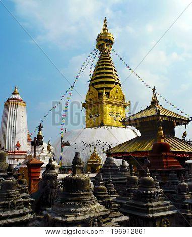 Beautiful View Of Swayambhunath Stupa Also Known As Monkey Temple. Situated In Kathmandu Valley, Nep