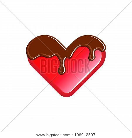Sweet jelly heart poured chocolate fondant. Favorite children's sweets concept logo.