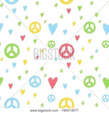 Vector seamless cartoon pattern with peace sign hearts and stars. Hand drawn colored hippie pattern for paper textile handmade decoration scrap-booking polygraphy clothes cards.
