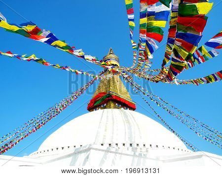Close-up View Of The Bodhnath Stupa With Lunghta Prayer Flags Waved In The Wind, Kathmandu, Nepal.