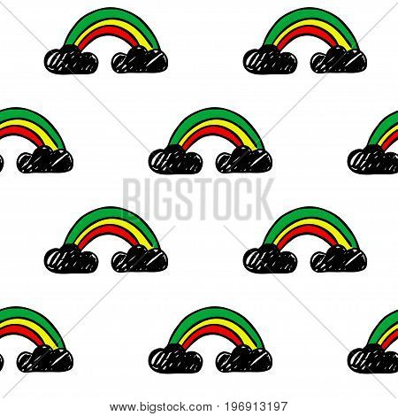 Vector seamless cartoon pattern with rainbows. Hand drawn colored reggae pattern for paper textile handmade decoration scrap-booking polygraphy clothes cards.