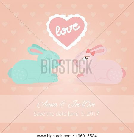Illustration with a pair of sweet love rabbits