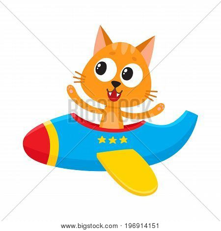 Cute funny cat, kitten pilot character flying on airplane, cartoon vector illustration isolated on white background. Little baby cat, kitten pilot, animal character flying in open airplane