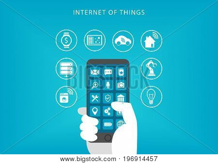 Internet of things concept. Vector illustration of hand holding smart phone and connecting to devices.